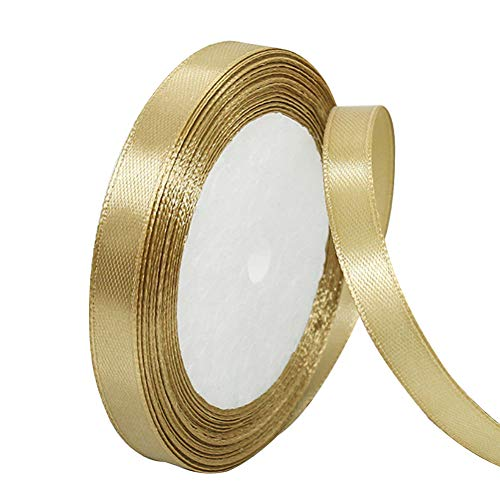 Solid Color Gold Satin Ribbon 2/5 inch X 25 Yard, Ribbons Perfect for Crafts, Hair Bows, Gift Wrapping, Wedding Party Decoration and More