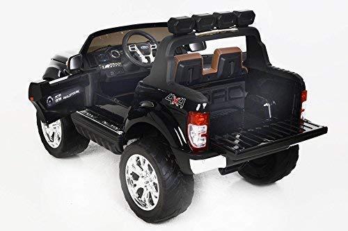 RC Auto kaufen Kinderauto Bild 3: RIRICAR Ford Ranger Wildtrak 4X4 LCD Luxury, Elektro Kinderfahrzeug, LCD-Bildschirm, lackiert schwarz - 2.4Ghz, 2 x 12V, 4 X Motor, Fernbedienung, 2-Sitze in Leder, Soft Eva Räder, Bluetooth*