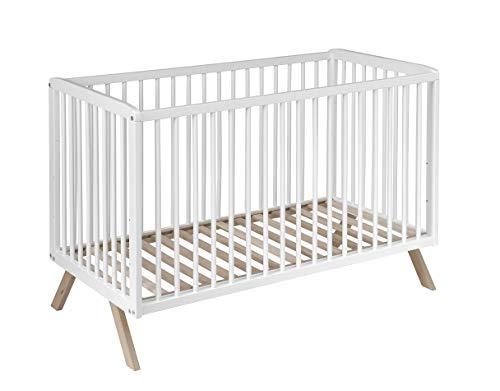 Best For Kids Gitterbett Theresa Kinderbett Babybett 120x60 cm in zwei Farben mit oder ohne Matratze (Weiß ohne Matratze)