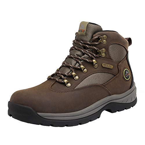 NORTIV 8 Men's Waterproof Hiking Boots Mid Ankle Leather Hiker Work Boots Brown Size 11 M US Rockfor