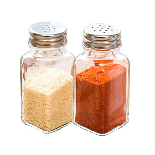 Salero y pimentero de cristal, juego de 2, tapa de botella de acero inoxidable, dispensador de sal y pimienta premium, excelente ayudante para cocinar