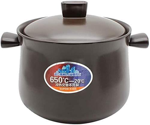 Kitchen Pots, Steamers, Stock & Pasta Pots Round earthen Pot Ceramic Casserole Dish Clay Pot Stock Pot with lid Heat-Resistant Pot for Slow Cooking LLCC (Color : 3.7quart)