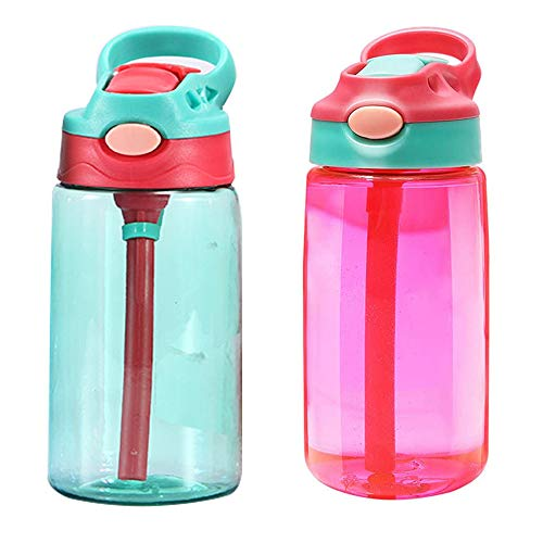 2 Piezas Botella de Agua para Niños, Botella de Bebidas con Pajita, Botella Agua con Pajitas, Reutilizable 480 ML El Plastico Taza de Paja Portátil para La Escuela, Viajes, Deportes (Rojo, Verde)