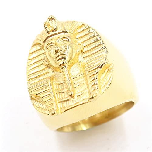 PuuuK Hip Hop 316L Acero Inoxidable Oro Oro Gran Faraón Egipcio Anillo para Hombres Rock Hombres Anillo De Sello Accesorios Regalo,12