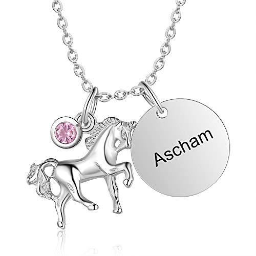 Gaosh Collar personalizado de Gaosh para niña colgante con nombre de pony para niños 1 colgante de caballo grabado con piedra natal joyería personalizada para niños pequeños regalo de cumpleañ