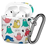 [ Compatible with AirPods 2 and 1 ] Shockproof Soft TPU Gel Case Cover with Keychain Carabiner for Apple AirPods (Sloth Yoga Various Poses Colored)