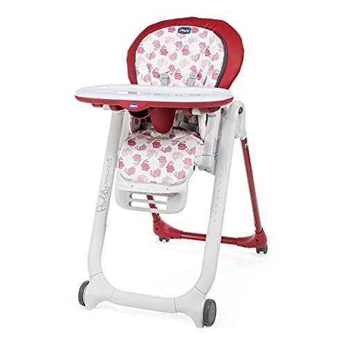 Chicco Polly Progres5 Chaise Haute Évolutive, Convertible en Transat et Rehausseur pour Bébé, Réglable de la Naissance à 3 ans (15 kg), avec 4 Roues, Fermeture Compacte - red