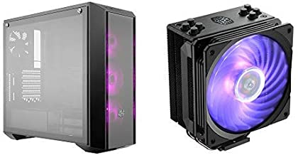 Cooler Master MasterBox Pro 5 RGB ATX Mid-Tower w/ Front DarkMirror Panel, Fans w/1 to 3 Splitter Cable AND Hyper 212 RGB Black Edition CPU Air Cooler 4 Direct Contact Heat pipe