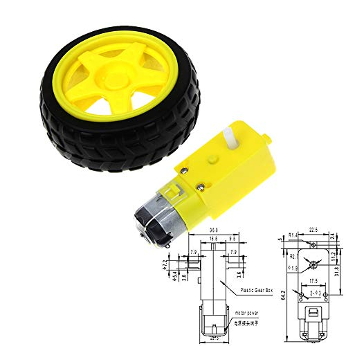 L-Yune,bolt 1pc TT Motor Smart Car Robot Gear Motor For Arduino Diy Kit Wheels Smart Car Chassis Motor Robot Remote Control Car DC Gear Motor (Size : Wheels and Motor)
