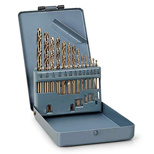 13 pcs Cobalt Drill Bit Set, 1/16'-1/4' M35 HSS Metal Drill Bits for Steel, Stainless Steel, Metal and Cast Iron