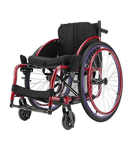 KOSHSH Selbstantrieb Rollstuhl, sportlicher Attendant Rollstuhl Leichtgewichtige Faltvorrichtung 24-Zoll-Mobilitätsgerät für den strafferen Indoor-Transport und Easy Storage mit Laufbremsen