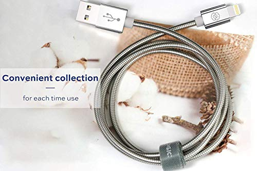 USB Lightning Cable, [Upgarded C89 Apple MFi Certified] SYNLOGIC 3.3Ft Metal Braided Lightning Cable iPhone Fast Charging Cable for iPhone iPhone 11/XS/XR/8/7/7Plus/6/6Plus/ iPad Pro/Air/Mini (Silver)