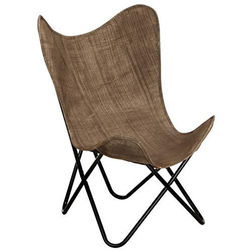 UnfadeMemory Butterfly-Sessel Schmetterlingssessel Canvas + Stahlrahmen Schmetterlingsstuhl Butterfly Chair Butterfly-Stuhl Sitzkomfort 74 x 66 x 90 cm (Taupe)