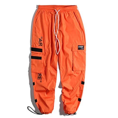 Pantalones Harem De Carga para Hombre Bolsillos Laterales con CordóN Ajustable EláStico Hombre Hip Hop Joggers Casual Streetwear Pantalones