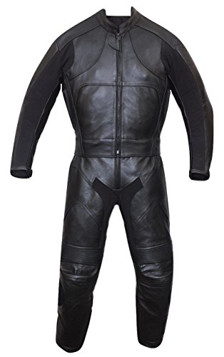 Motorbike Motorcycle New Black Racing Cowhide Leather Suit CE Approved Armors (Medium)
