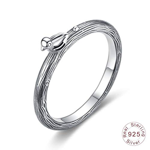 Damen 925 Sterling Silber Ring, Vintage Neuheit Frühjahr Vogel Tier Mode Zeichnung Finger Ring Für Geliebte Freundin, Hochzeitstag Verlobung Ewigkeit Brautschmuck Festival Geschenk