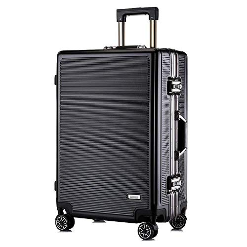 XKstyle PC Luggage Trolley Suitcase Male Striped 24 Inches 20 Inches Shaped Box Customs Lock Female Boarding Business Travel Trolley Luggage Password (6 Colors) Light (Color : Black, Size : 20Inch)