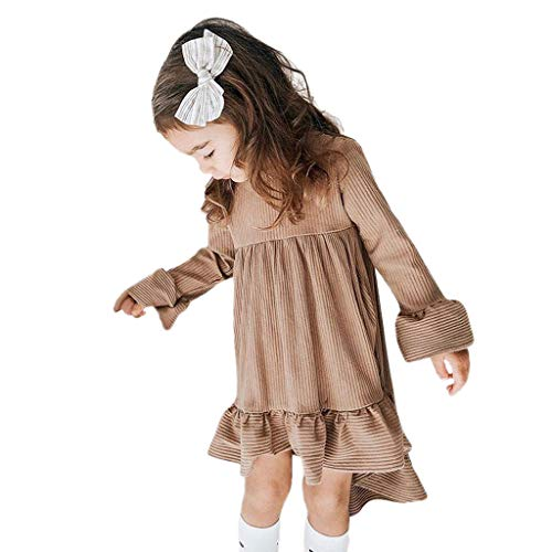 Julhold kleine kinderen baby meisjes casual festival lange mouwen gestreept ruches prinses onregelmatige jurk 0-3 jaar