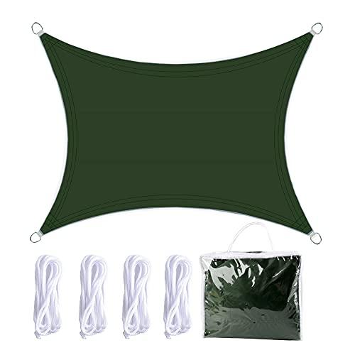 Vela de Sombra 3x4m Rectangular Toldo Vela Impermeable Protección Solar Rayos UV para Jardín Patio Terraza Balcón Exteriores Bolsa Almacenamiento Cuerdas Todo Incluído (Kit Verde Oscuro)