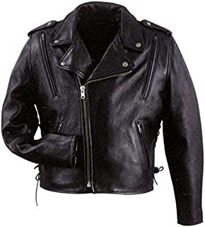 Xelement B7210 `Cool Rider` Men`s Black Vented Leather Motorcycle Jacket - X-Large