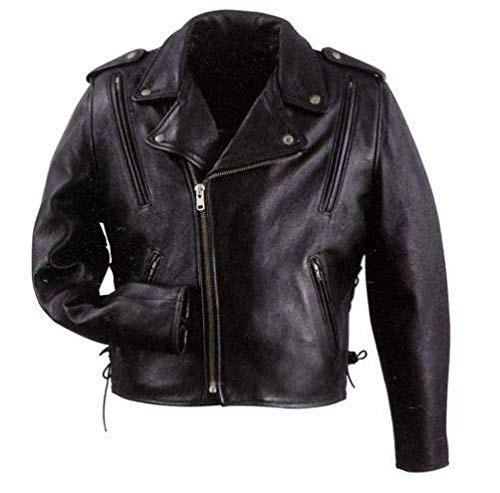 Xelement B7210 'Cool Rider' Men's Black Vented Leather Motorcycle Jacket - 5X-Large