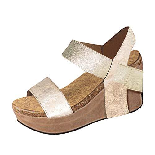 Minetom Sandalias Mujer Cuña Alpargatas Plataforma Bohemias Romanas Flip Flop Mares Playa Gladiador Verano Tacon Planas Zapatos Zapatillas Negro Beige 35-43 A Oro EU 42