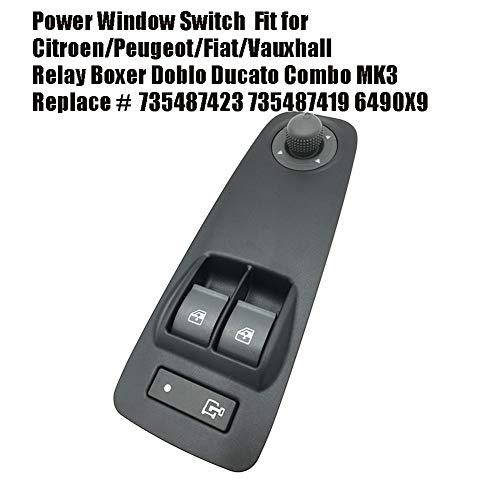Super11Six Schalter für Fensterheber Fit für Relais Boxer Doblo Ducato Kombi MK3, Original Equipment Tür-Fenster-Schalter, Ersetzen # 735487423,Schwarz