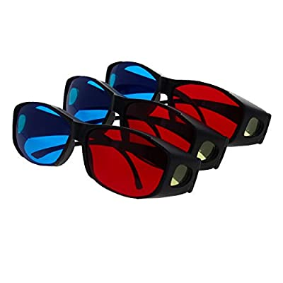 Othmro Red-Blue 3D Glasses Black Plastic Big Frame Resin Lens Simple Style 3D Movie Game Red-Cyan Anaglyph 3Pcs