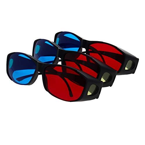 Othmro 3D-Brille mit großem Rahmen aus Kunstharz, einfache Optik, 3D-Filmspiel, Rot-Blau, 3 Stück