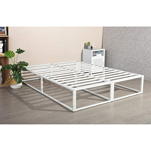Furniture-R Francia - Marco de Cama Doble (Cama matrimonial, tamaño King Size), Metal, Blanco, King Size
