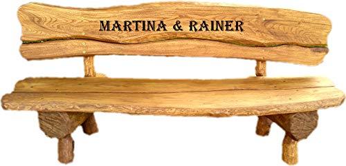 Gartenbank aus Massivholz mit Lasergravur von Ihrem Wunschtext (EIN Brett) | Parkbank aus Akazien- und Tannenholz | Perfekt als Hochzeitsgeschenk, Geschenk (Eiche)