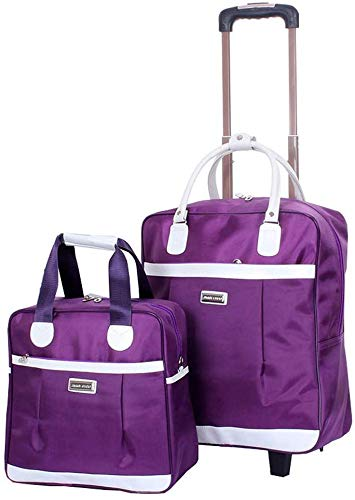Dljyy Bruikbare Travel Trolley Bagage Bag Bagage Bag Bagage Bag Kind-Bag grootte twee zakken artikelen opbergtas handtas schoudertas - Boarding Folding (kleur: paars) (kleur: paars)