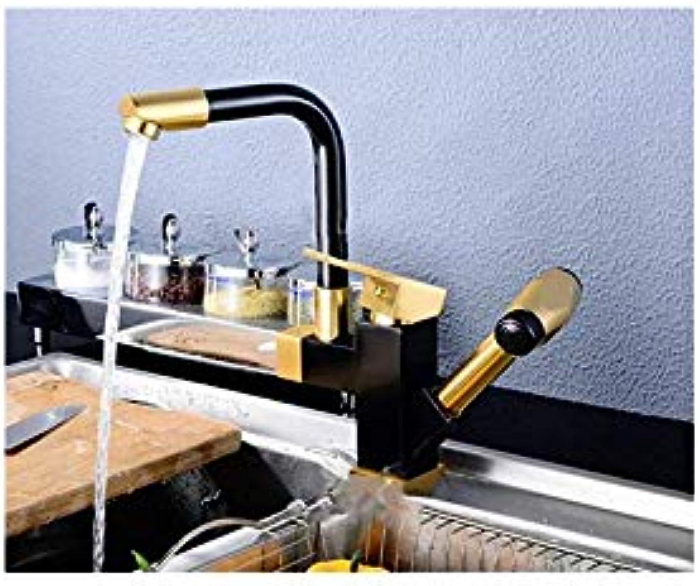 Space Aluminum Black gold Faucet Cold and Hot Draw Lance Faucet Kitchen Single Hole Faucet Faucet