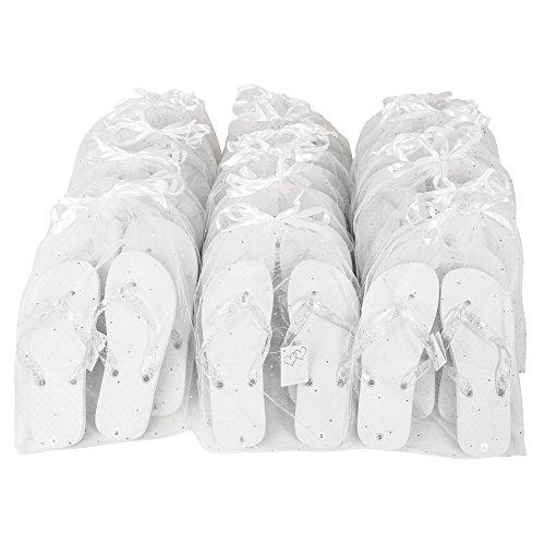 ZOHULA Weiß Hochzeit Flip Flops Partypaket - 20 Paare Flip-Flops Mx10 (38-39) Lx10 (40-42)
