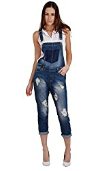 Three-quarter length distressed denim Dungarees Please refer to our size guide in the product images Brand New with Tags