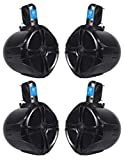 (4) Rockville RWB80B 8' Black 2 Way 300 Watt Marine Wakeboard Tower Speakers
