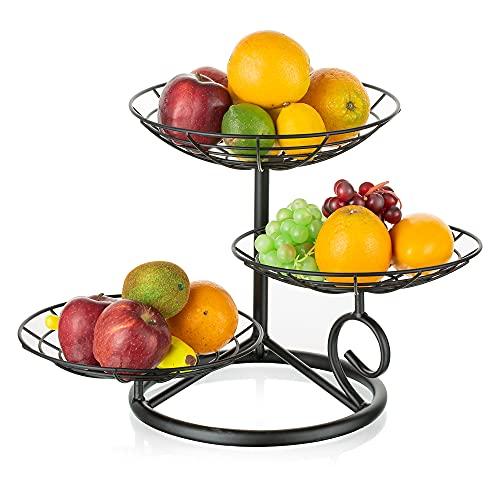 Hanobe Cesta De Frutas De 3 Niveles Decoración De Mesa Soporte De Cuenco De Frutas Negro Cesta De Alambre De Metal Creativo Para Encimeras De Cocina De Almacenamiento De Vegetales, Fácil Instalación
