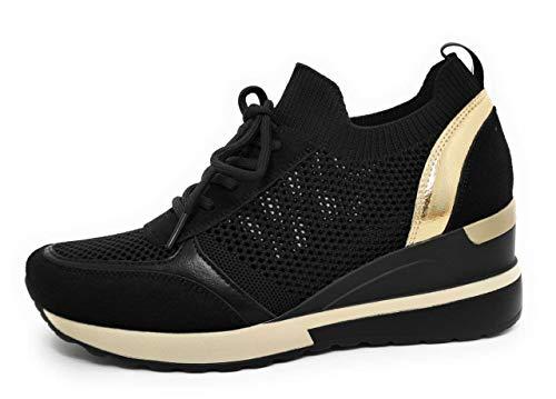Zapatillas Deportivas Mujer con Estilo | Bambas Comodas Cuña | Tenis Plataforma Casual Perforado (Negro, 38)