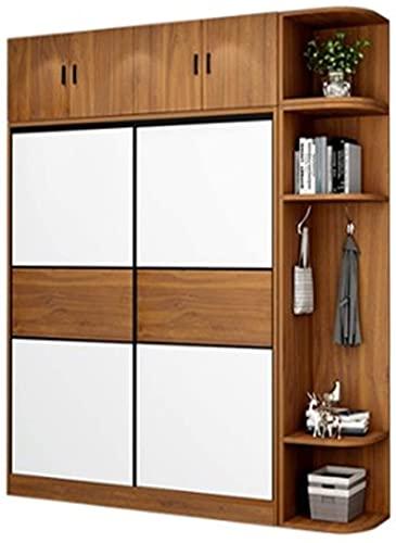 COLiJOL Möbler garderob hem sovrum rum med lägenhet skjutdörr skåp kläder förvaring garderob (färg: Brun, storlek: 200 x 50 x 120 cm), brun, 200 x 50 x 120 cm