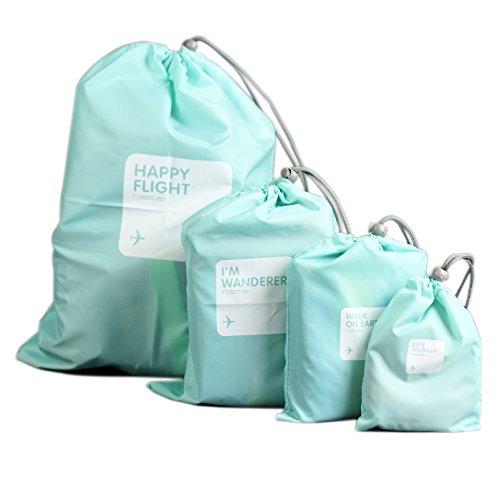 Muryobao Set of 4 Nylon Waterproof Drawstring Bags Folding Sport Home Travel Toys Storage Use Blue