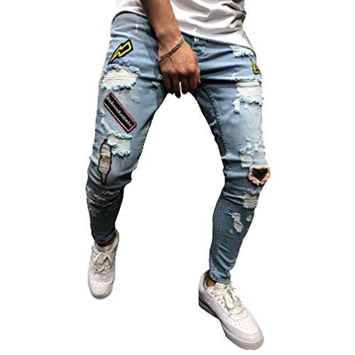 Männer Zerstörten Zerrissene Dünne Denim-Jeans-Dehnungs-Flecken-Kegelbleistifthose Mittlere Taillenhosen Hellblau S