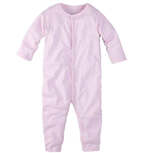 wellyou, Schlafanzug, Pyjama für Jungen und Mädchen, Einteiler Langarm, Baby Kinder, rosa weiß gestreift, Geringelt, Feinripp 100% Baumwolle, Größe 92-98