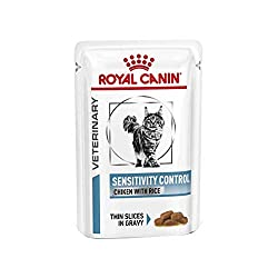Formulated to reduce ingredient and nutrient intolerances. For cats with nutritional intolerances or adverse reactions to certain foods, ROYAL CANIN Feline Sensitivity Control (Chicken & Rice, thin slices in gravy) can help to support your cat's well...