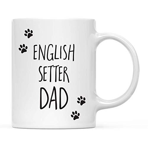 N\A Funny Dog Dad Coffee Mug Gag Gift, Setter inglés Dog Dad Pawprint Graphics, 1 Paquete, Ideas de cumpleaños navideñas para Amantes de los Perros, Incluye Caja de Regalo