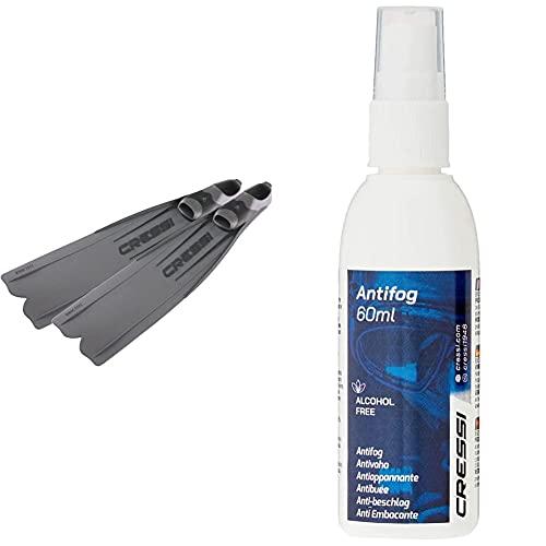 Cressi Gara 3000 LD Aletas Calzantes, Adultos Unisex, Plateado, 44/45 + Premium Anti Fog - Antivaho Spray para Máscara De Buceo/Gafas De Natación, 60 Ml