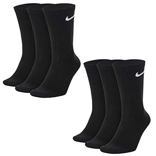 Nike 6/9/12/15/18 Par de calcetines de entrenamiento para hombre Everyday Lightweight Crew Trainings, Negro (Black/White), 42-46 (L) Negro L