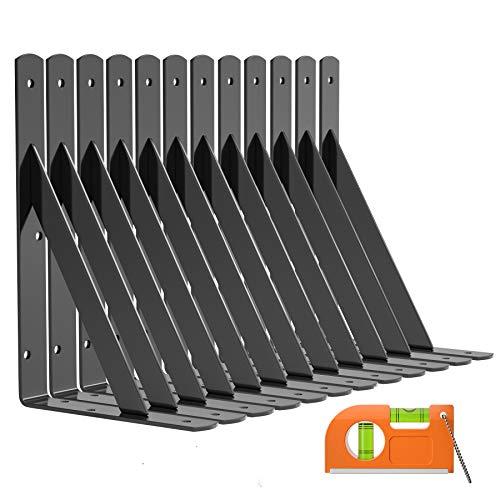 LuckIn 12-Pack Shelf Bracket 9 Inch for Floating Shelf, Heavy Duty Wall Mount L Bracket, 90 Degree Triangle Corner Bracket with Gusset-Black
