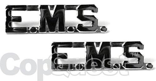 Collar Insignia - 3/8-inch high - Pair - EMS - Nickel