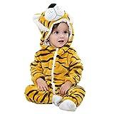 Newooh Unisex-Baby-Strampler mit Kapuze, Cute Cartoon Animal Outfits mit Ohr, Winterwarme, weiche Flanell-Reißverschluss-Pyjama-Sets für Mädchen, Jungen, Jungen, 0-24 m