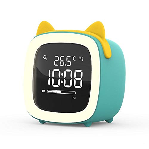 LED Reloj despertador digital Control Snooze Tiempo Pantalla de temperatura Modo nocturno Carga USB Reloj despertador para niños Regalo para niños Cute Ears-D